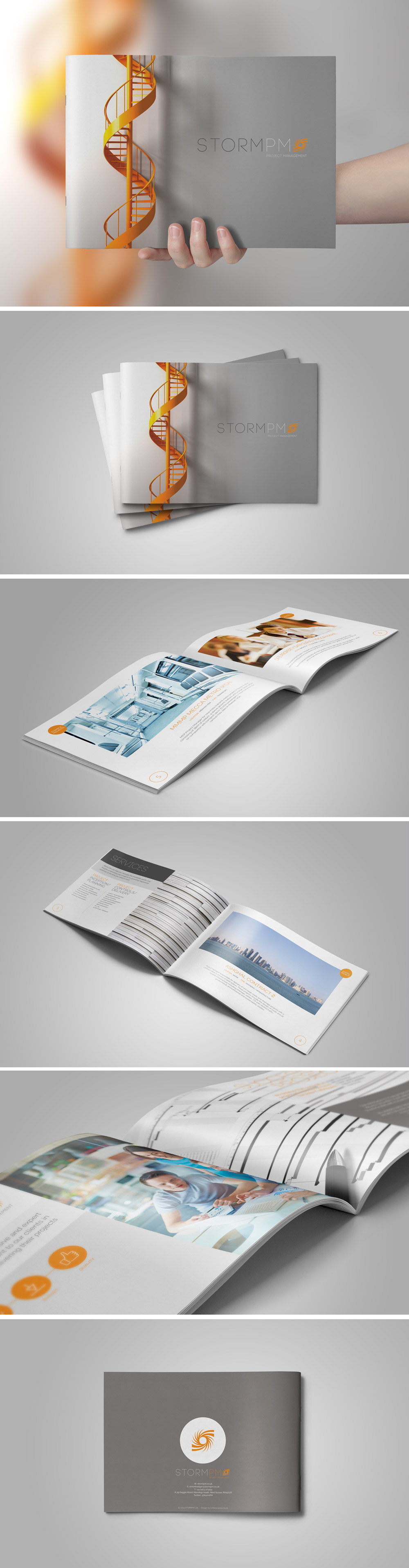 Series of images showcasing the Capability Statement Brochure design to expand the StormPM identity design