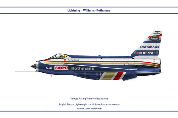 English Electric Lightning in the Williams/Rothmans Formula One colours