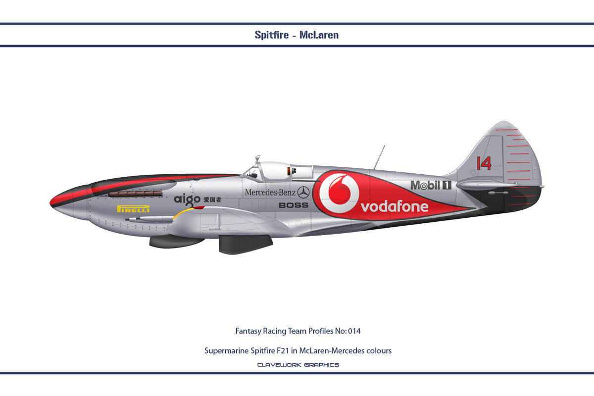 Supermarine Spitfire F21 in McLaren-Mercedes colours
