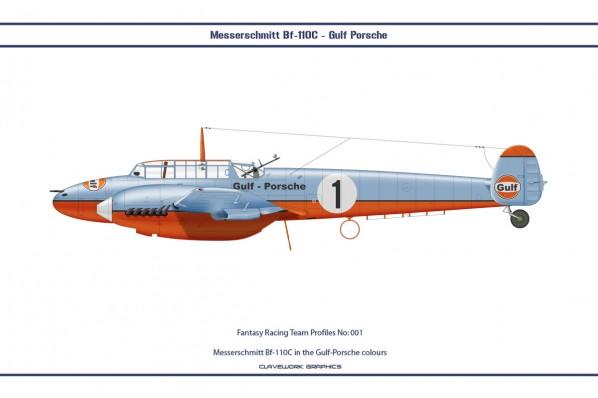 Messerschmitt Bf-110C in the Gulf-Porsche colours