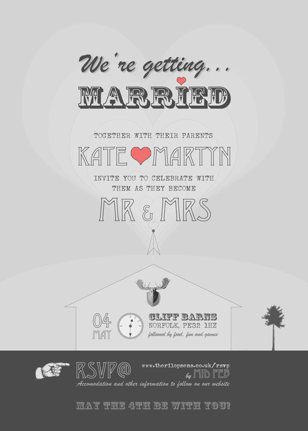 Tailored Wedding Invite design reverse with all key information and RSVP details