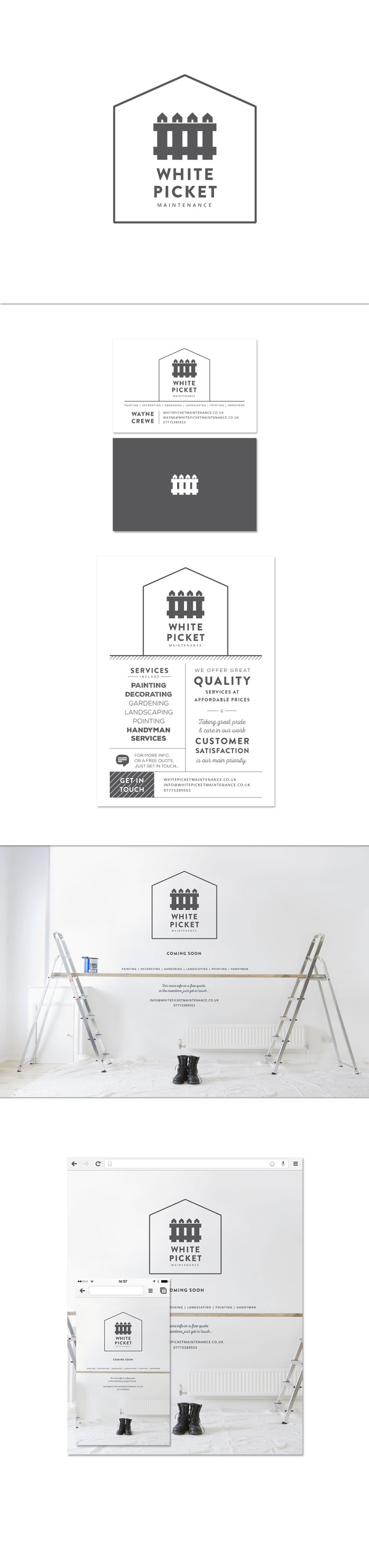 White Picket Maintenance, identity design overview image, showing logo, business card and flyer designs, along with the website screenshots.