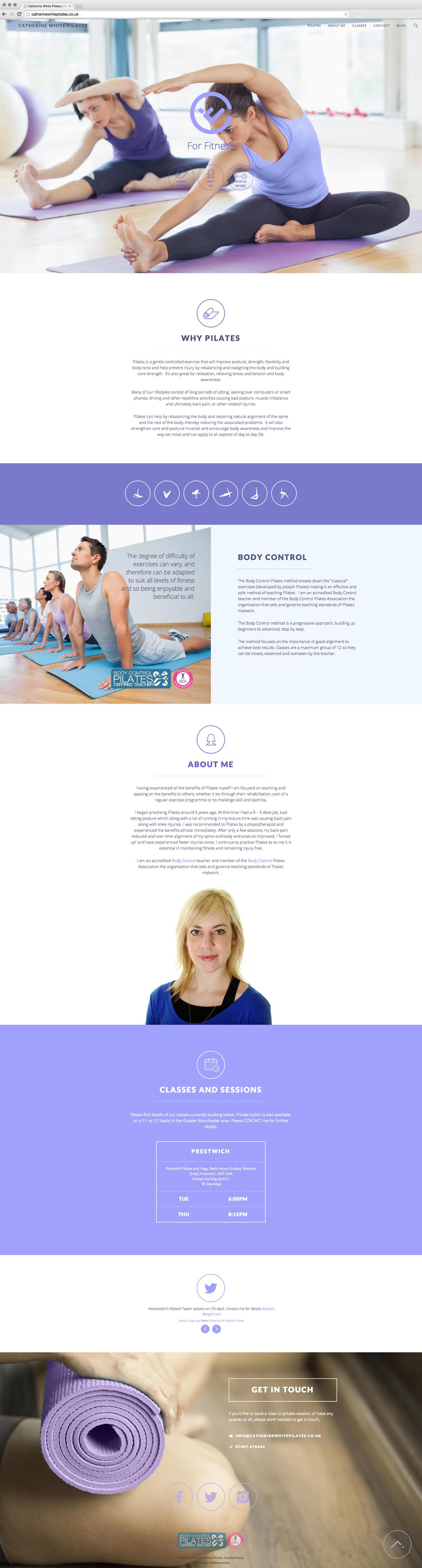 One Page Pilates Website Design Screenshot