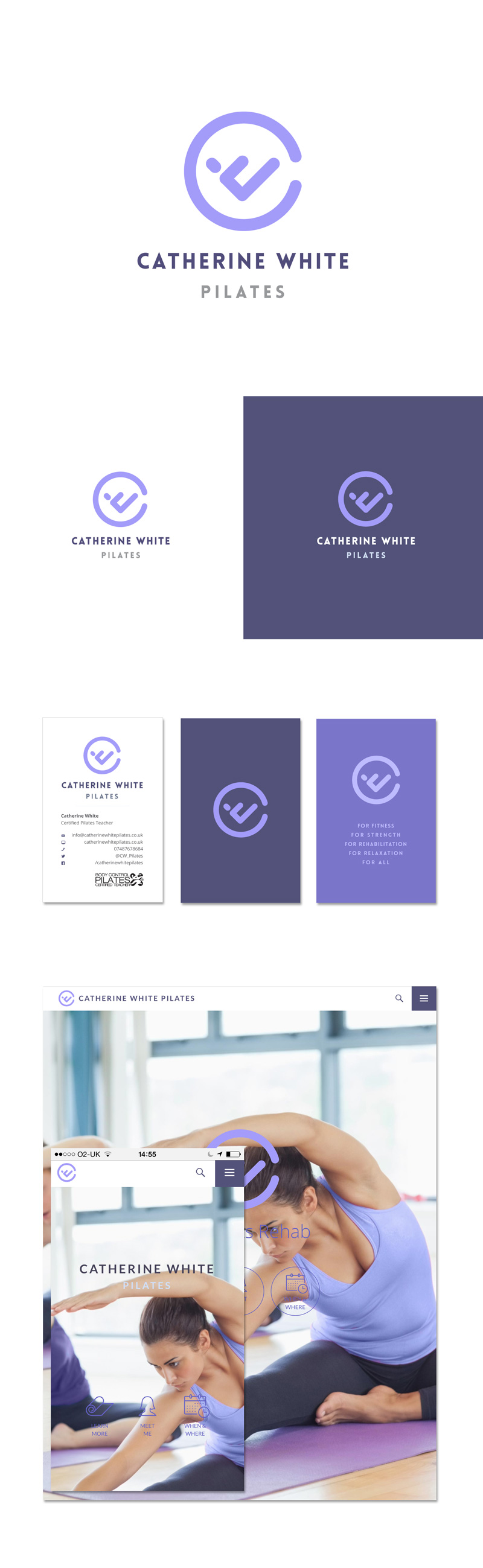 Pilates brand identity design pilates with logo, business cards and website