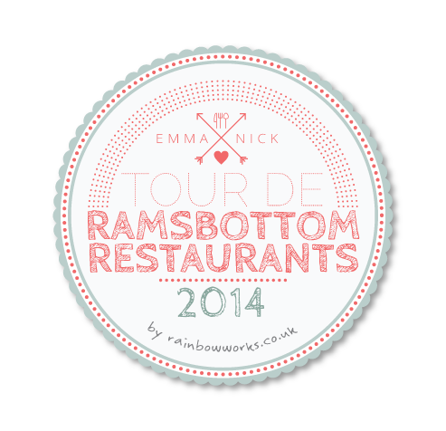 Tour De Ramsbottom restaurant logo design for Em and Nick's map poster