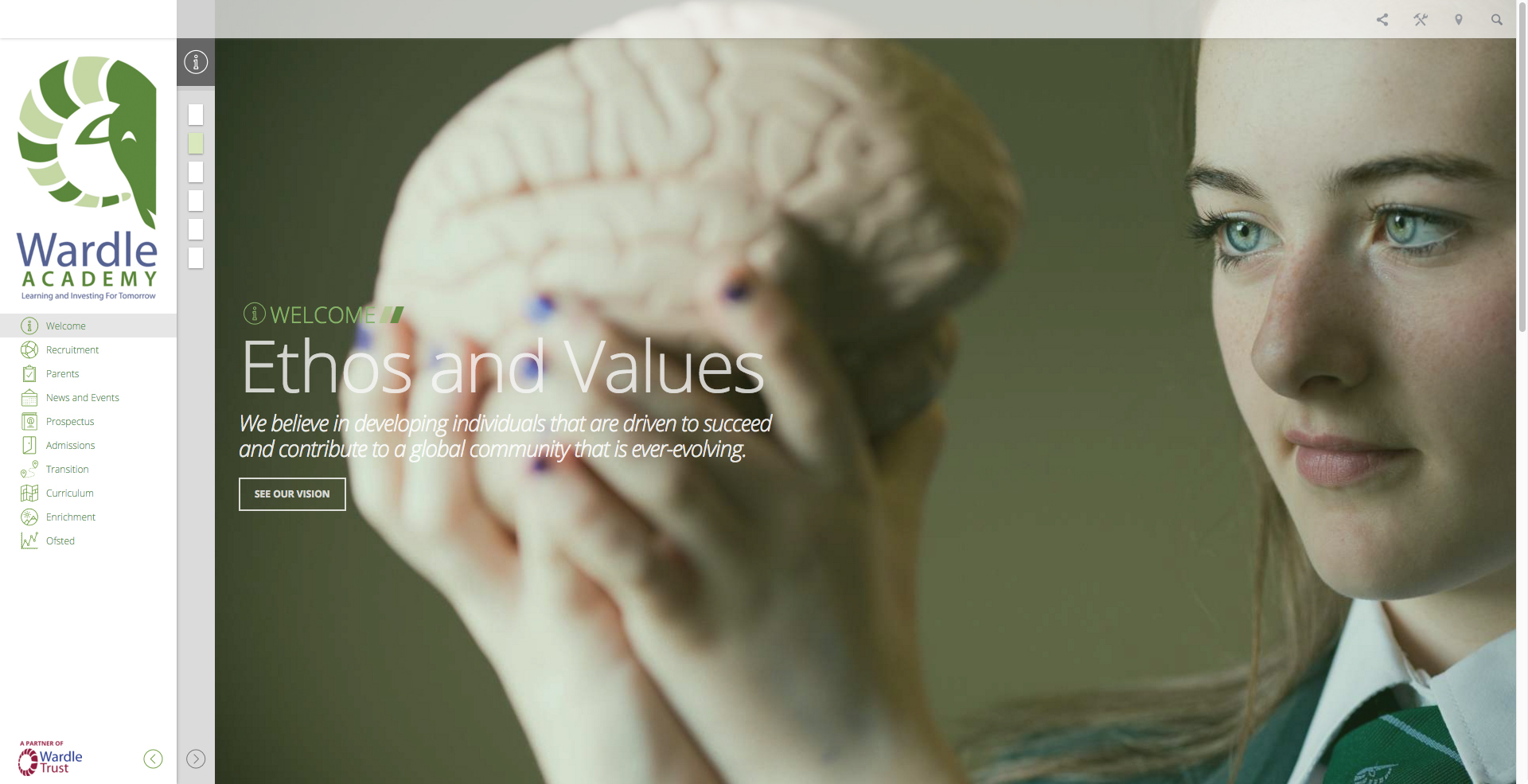 High School Website Design Ethos and values page