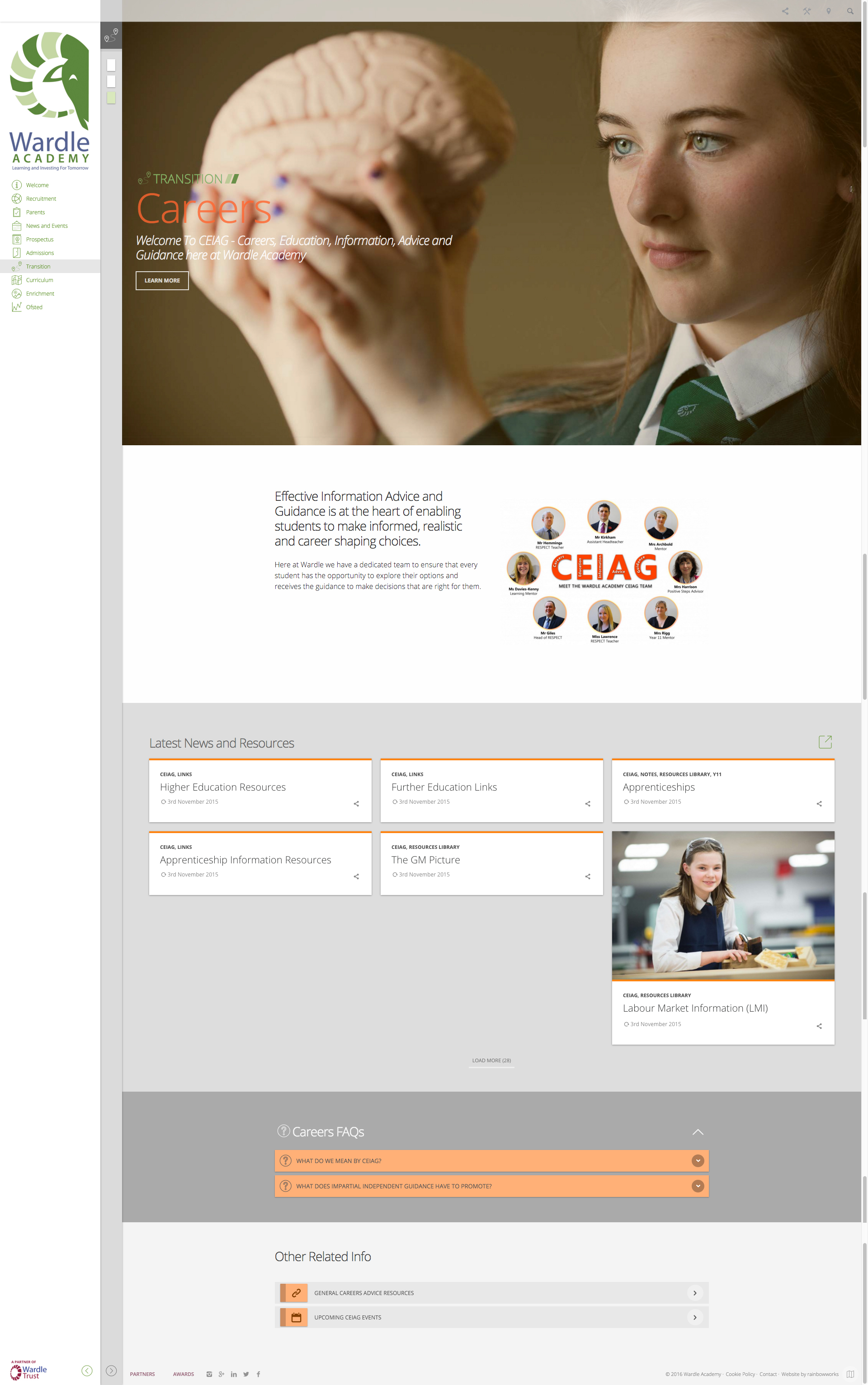 High School Website Design Page 3